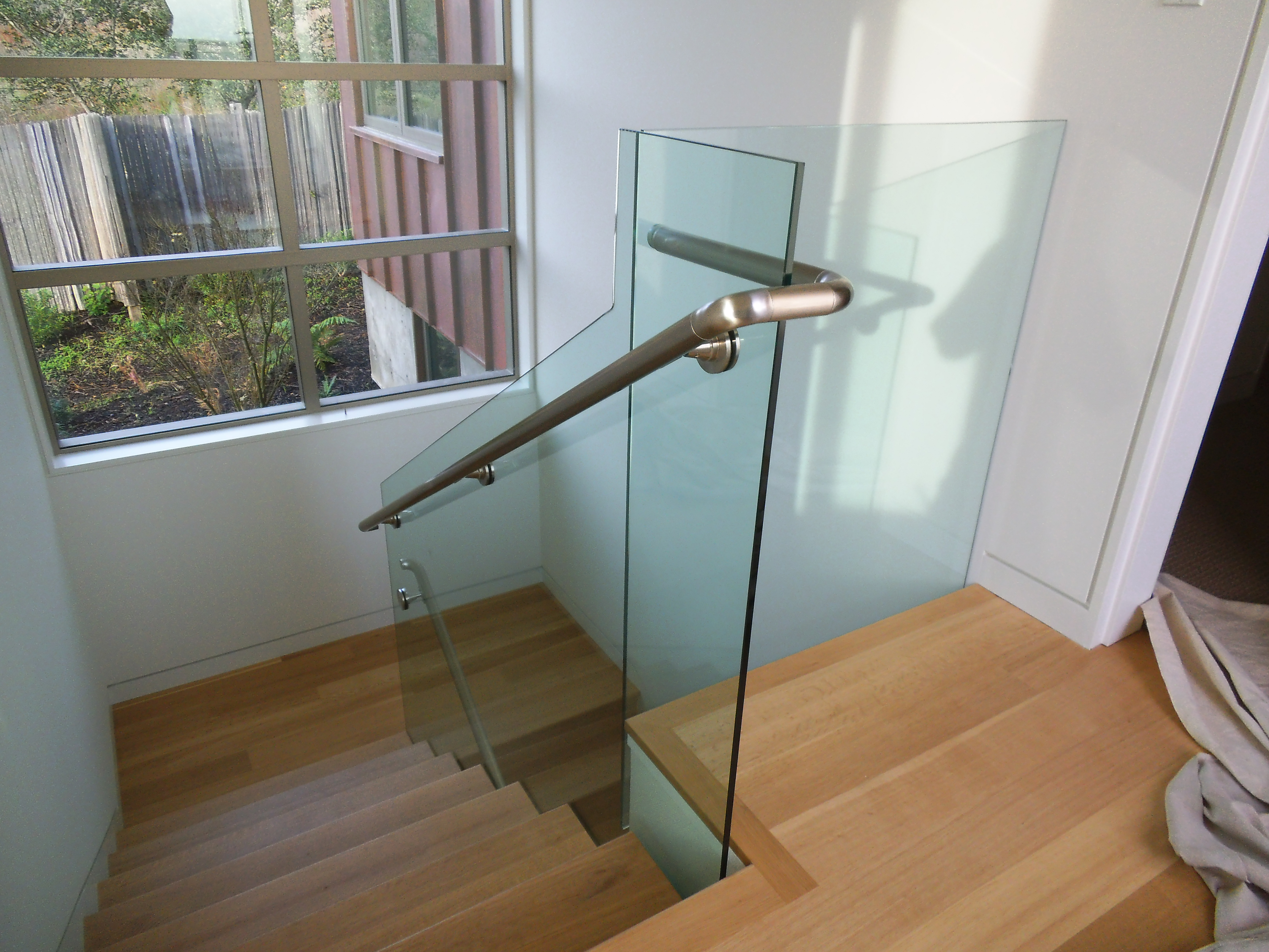 Glass Installation Photos Shower Stair Well Satin Etch Shower And