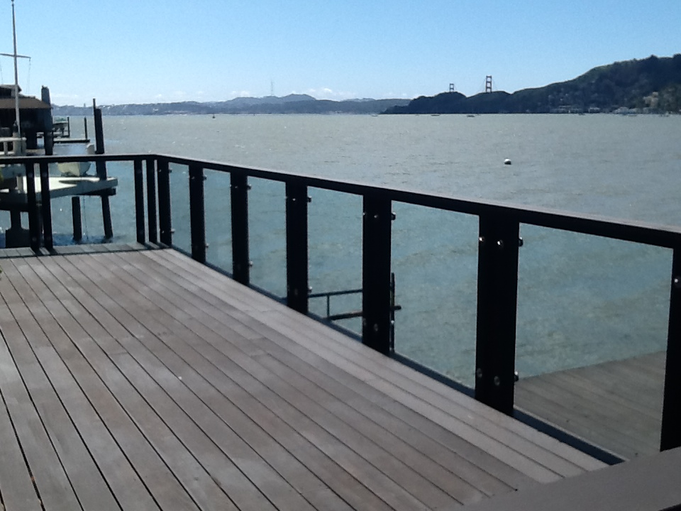 "Wood Deck Railing With 1/2"" Glass Standoffs"