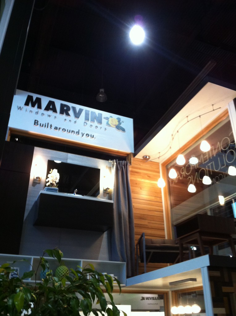 The most interesting and question part of the Marvin Dwell on Design booth were not the windows, but the bathroom vanity in the top of the booth.