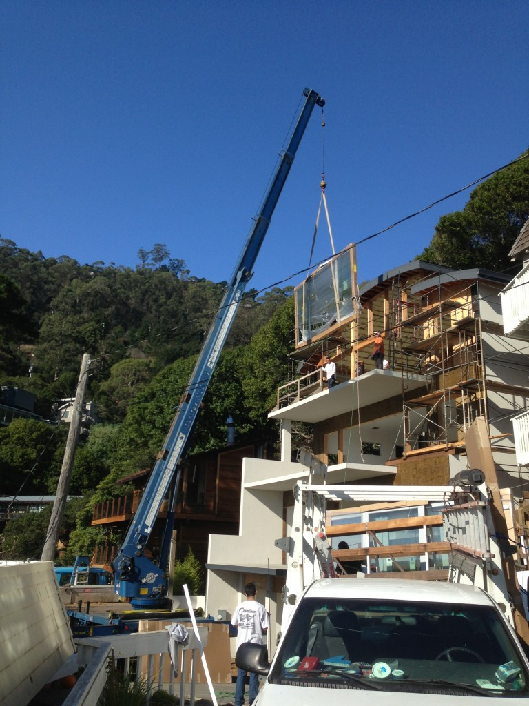 Marvin Window Delivery in Sausalito, CA .  Old Town Glass worked with the Owner, Contractor, and Ad-Lite Crane