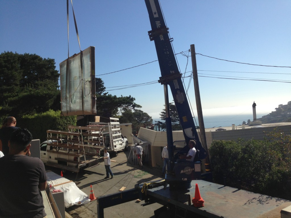 Marvin Door Being Lifted in Sausalito