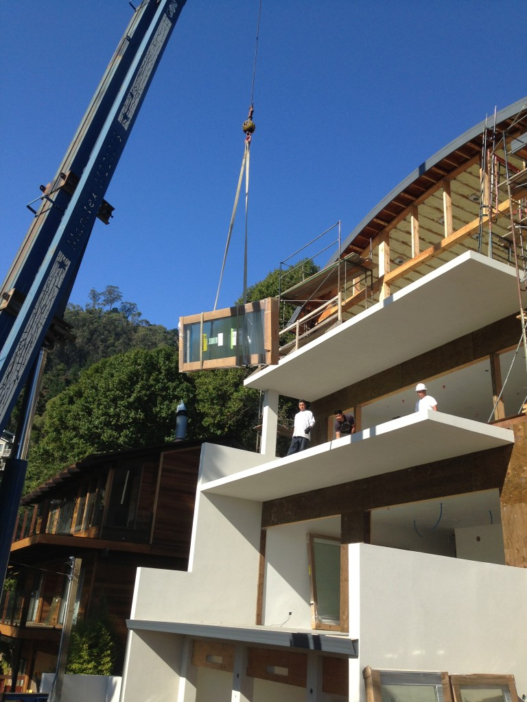 Delivering Marvin products with Ad-Lite Crane in Sausalito