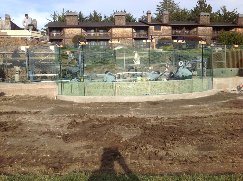 Front view looking back towards the pool of the glass railing at Bodega Bay Project.
