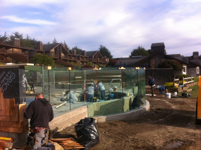 Installation of Glass Deck Railing by Old Town Glass Crew