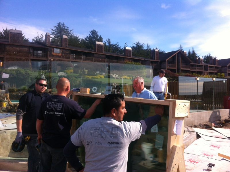 Installation of Glass Deck Railing by Old Town Glass Crew in Bodega Bay, CA.
