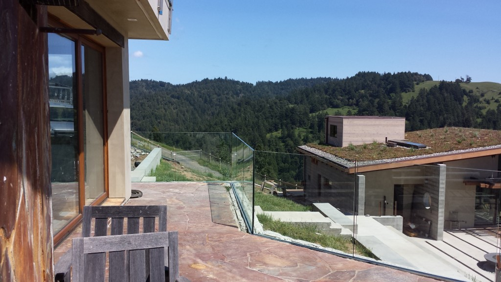 """Glass Deck Railing Photos taken during Old Town Glass installation of 27/32"""" tempered laminated glass."""