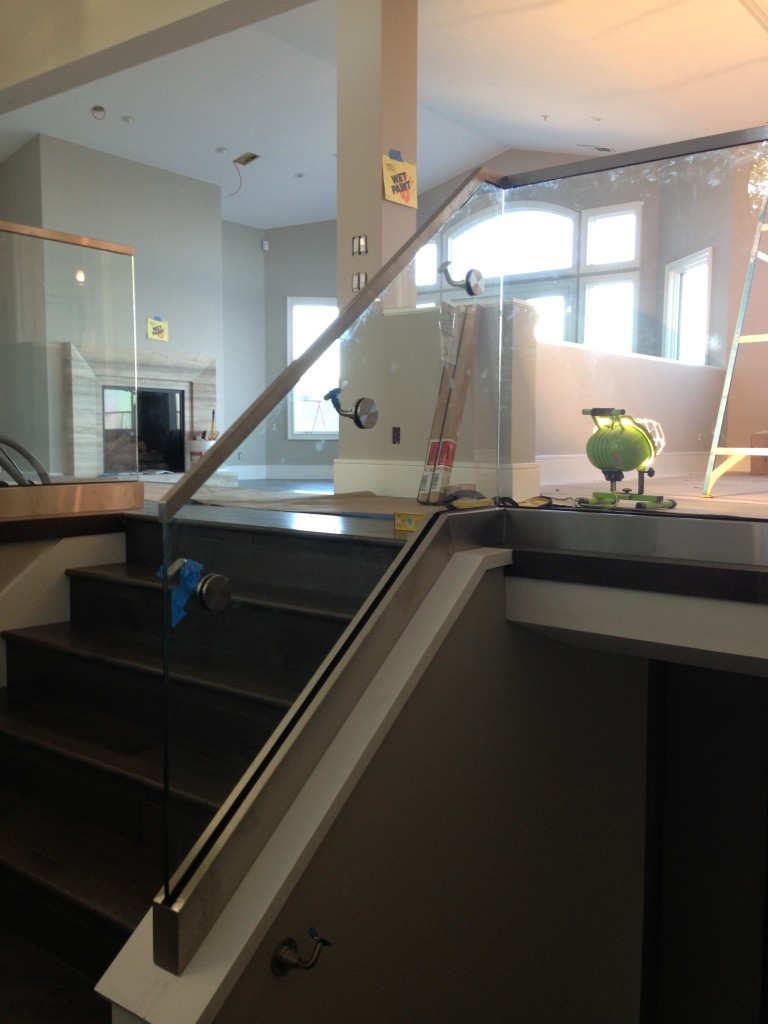 "9/16"" Tempered Laminated Glass Railing Photo Taken During Installation by Old Town Glass"