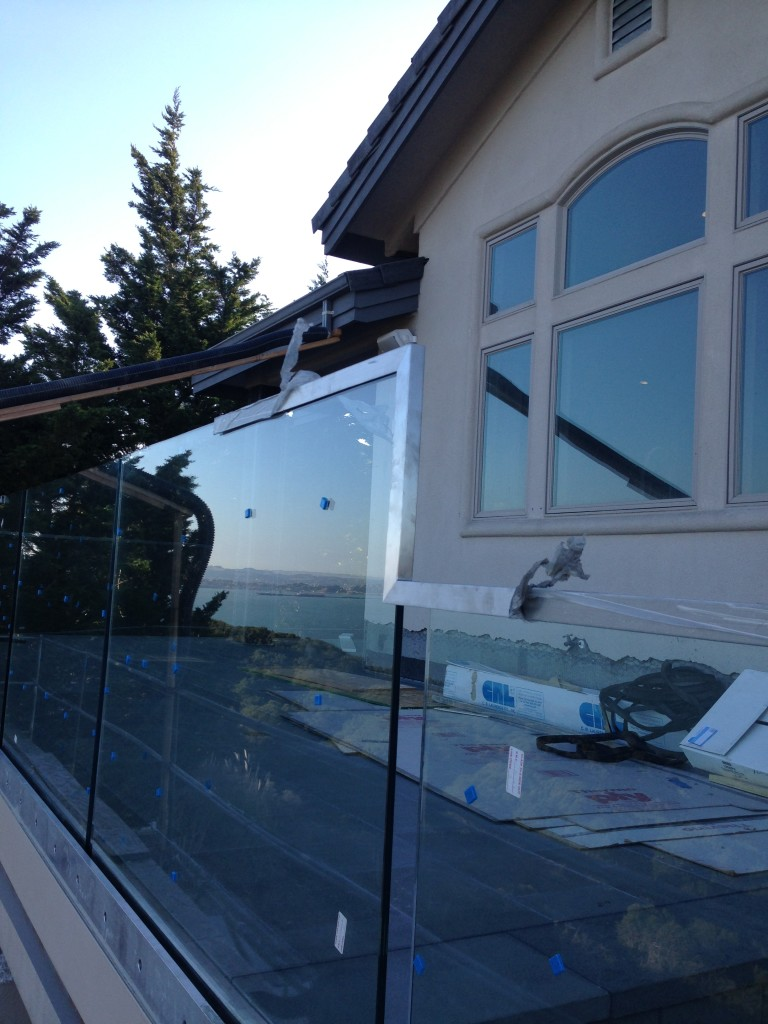 "Custom 9/16"" Glass Deck Railing and Stainless Steel Cap"