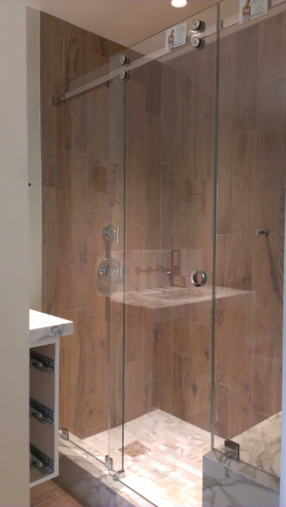 CRL's Serenity Shower Door in Polished Chrome with Guardian Showerguard Glass installed in Marin County, CA