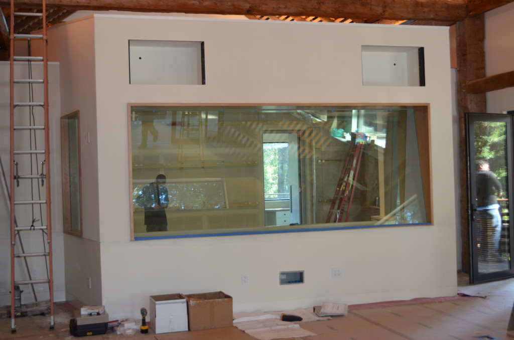 Sound Studio Control Room Glass.  Features Two Separate Pieces of Laminated Glass Set at an Angle to Each Other