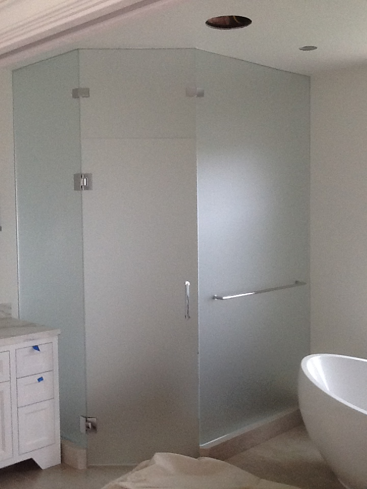 SatinEtch Toilet Room Enclosure with Shower Door Hardware2