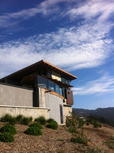 View of a recent glass deck railing installation in Jenner, CA.