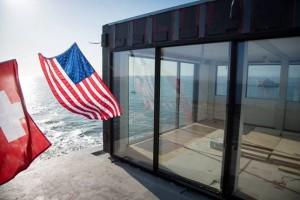 Sky-Frame Project in San Francisco Bay.  Frameless Glass Swiss Sliding Doors