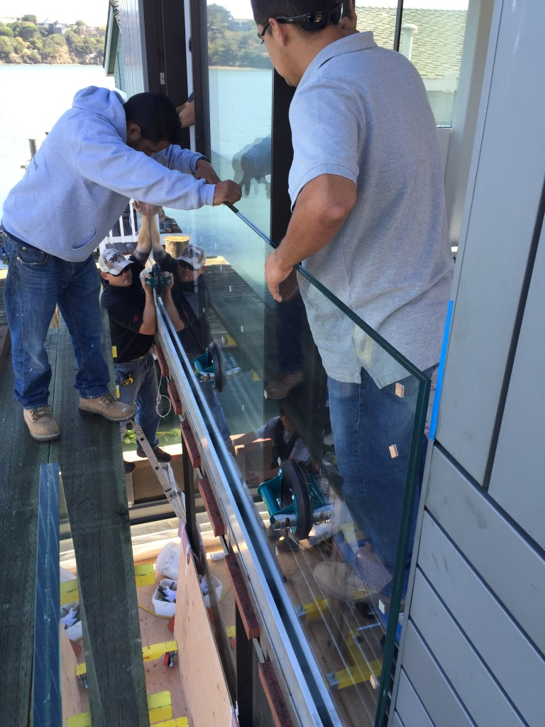 Old Town Glass Crew Installing a Glass Deck Railing in Sausalito