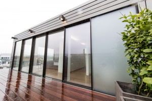 Sky-Frame Door with Satinato obscure glass and Ipe deck